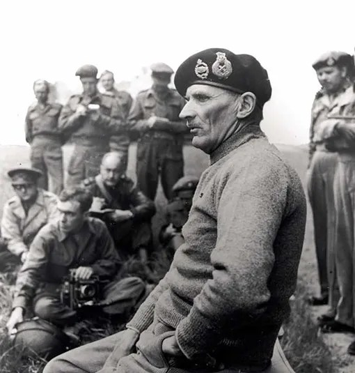 General Sir Bernard Montgomery during a press briefing, Normandy, June 12th, 1944
