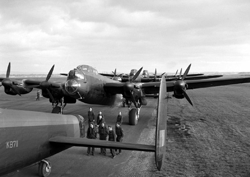 Canadian-made Lancasters X of No 419 Squadron on the Middleton St. George air base, May 1st, 1944. The plane in the foreground marked KB 711 was shot down later that same evening during a raid over St-Ghislain.