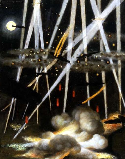 Les projecteurs, les explosions de Flak, les indicateurs de cibles, les moteurs en flammes et les explosions de bombes illuminent la nuit dans ce tableau du capitaine d'aviation Miller Brittain, intitulé Cible de nuit, Allemagne.