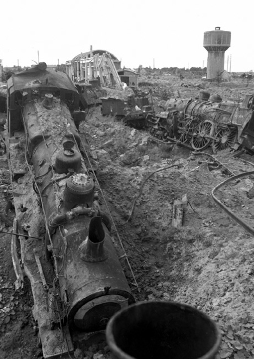 Railway installations destroyed in bombing raids in Trappes, near Paris. The photograph is dated September 9th, 1944.