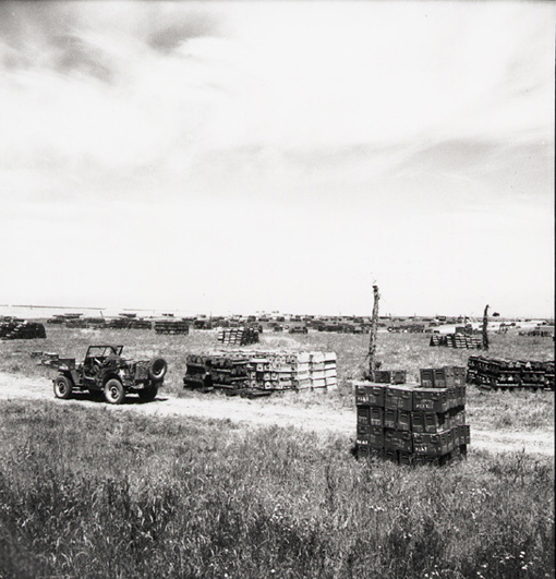 Allied ammunition dump somewhere in Normandy, 9 June 1944.