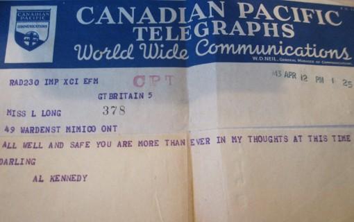 Telegram sent from Al Kennedy