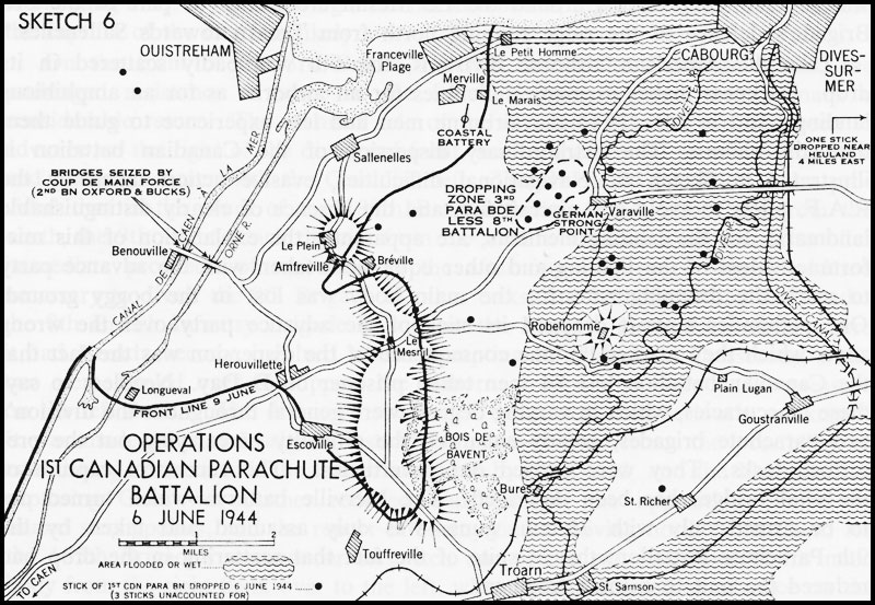Black and white map. Operations of the 1st Canadian Parachute Battalion - 6 June 1944