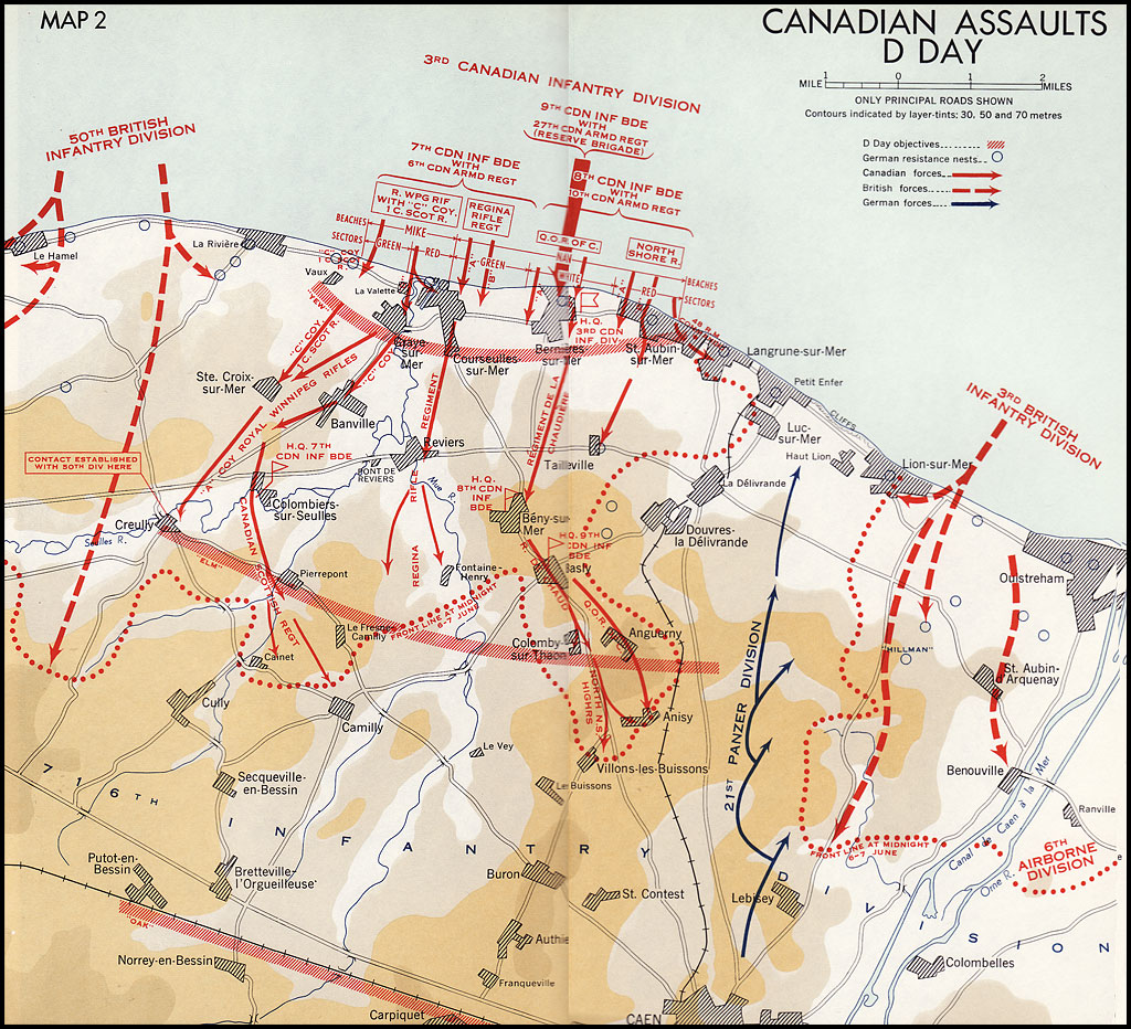 Colour map. Canadian Assaults on D-Day
