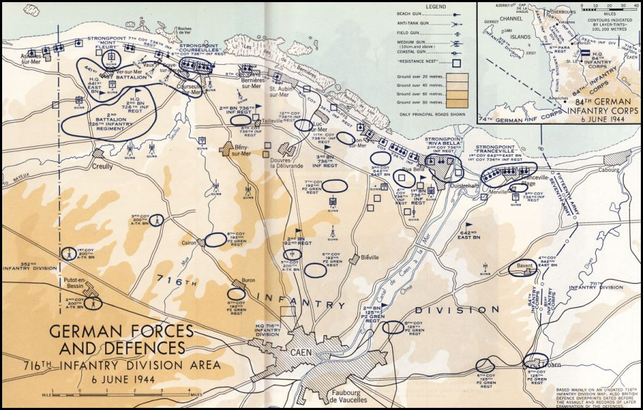 Colour map. German Forces and Defences (716th Infantry Division Area) 6 June 1944