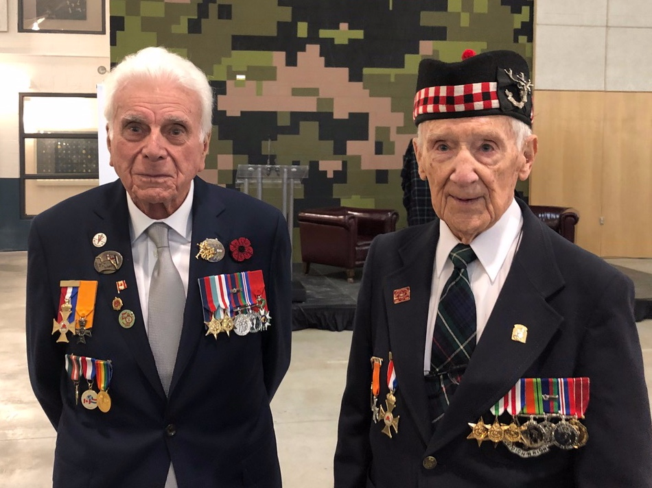 Norm Kirby with fellow WW2 veteran Jack Rossiter of the Seaforth Highlanders of Canada