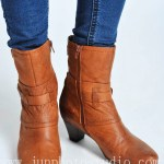 China fashion photographer brown leather boots product