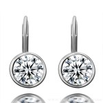 Round Diamond Stud Earrings set White Gold front