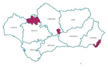 Mapa de localización de los Geoparques andaluces