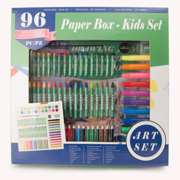 96pc Kids Paper Box Art Set