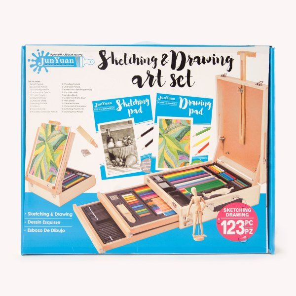 123pc Wooden Box Easel Sketching And Drawing Art Set