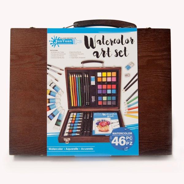 46pc Wooden Watercolor Art Set