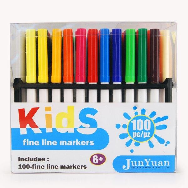 100pc Kids Acetate Felt Tip Fine Line Markers