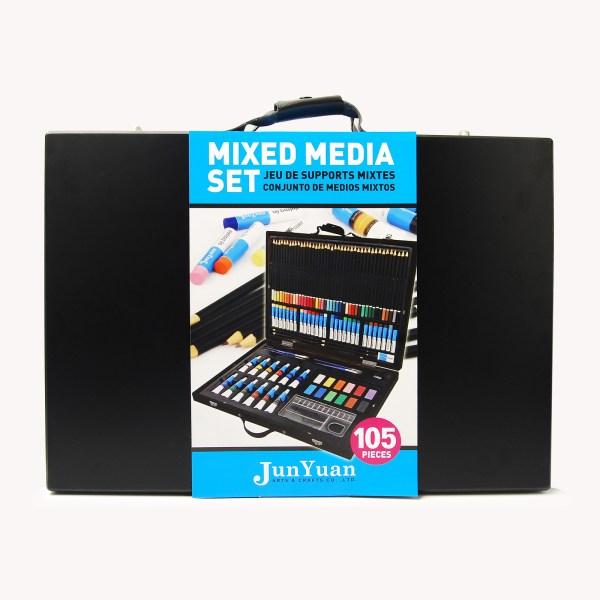 105pc Painted Wooden Box Mixed Media Art Set