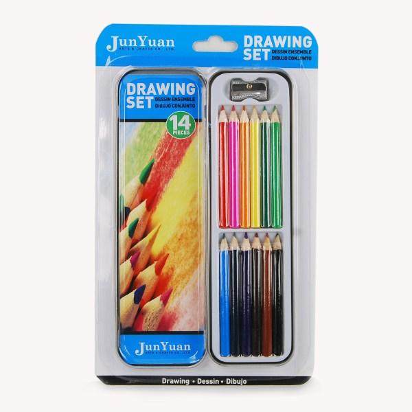 14pc Metal Tin Color Pencil Art Set