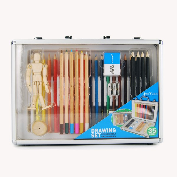 35pc Aluminum Case Drawing Art Set