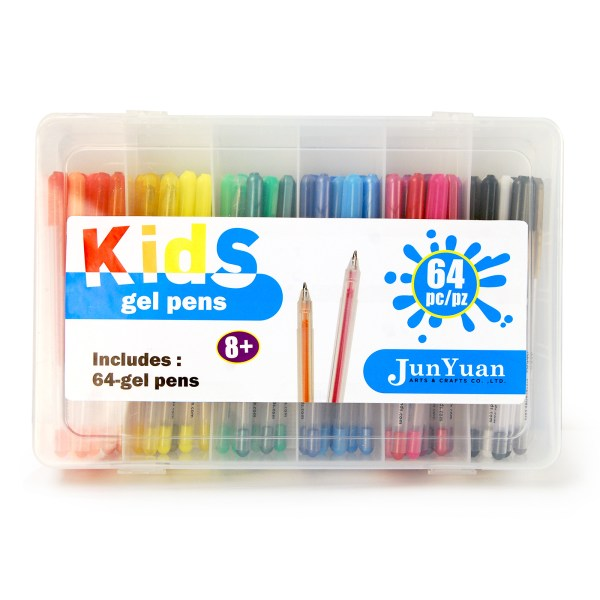 64pc Gel Pen Set In Plastic Case