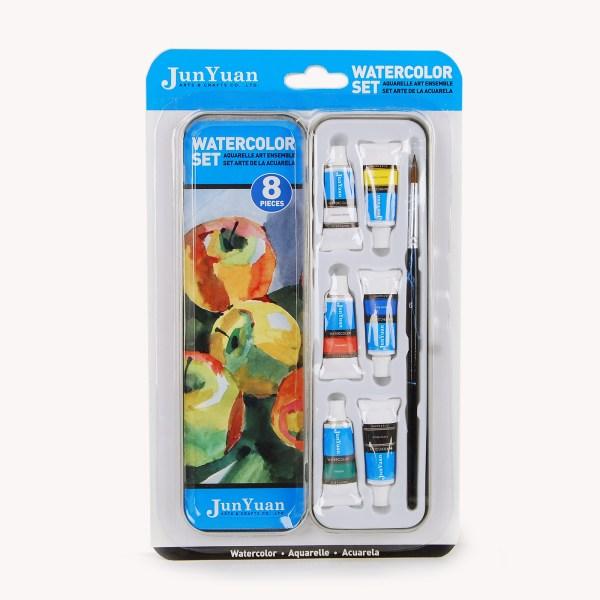 8pc Watercolor Paint Tube Travel Tin Set