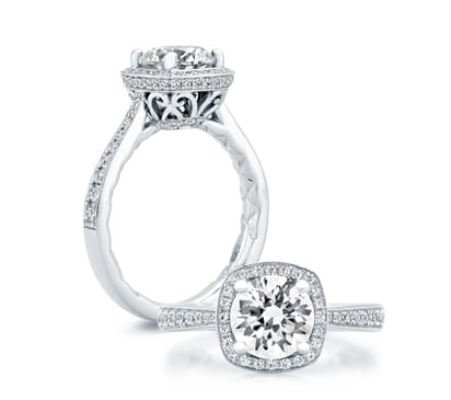 18kt White Gold .42ctw Diamond Cushion Shape Halo Quilted Engagement Ring