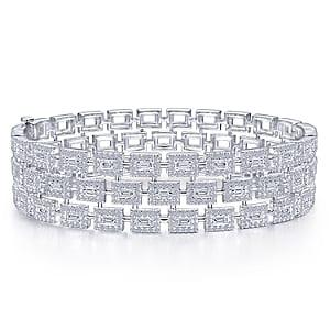 24633-triple row round brilliant cut & straight baguette diamond bracelet Gabriel-14K-White-Gold-Fashion-Bangle_BG4329-65W44JJ-1