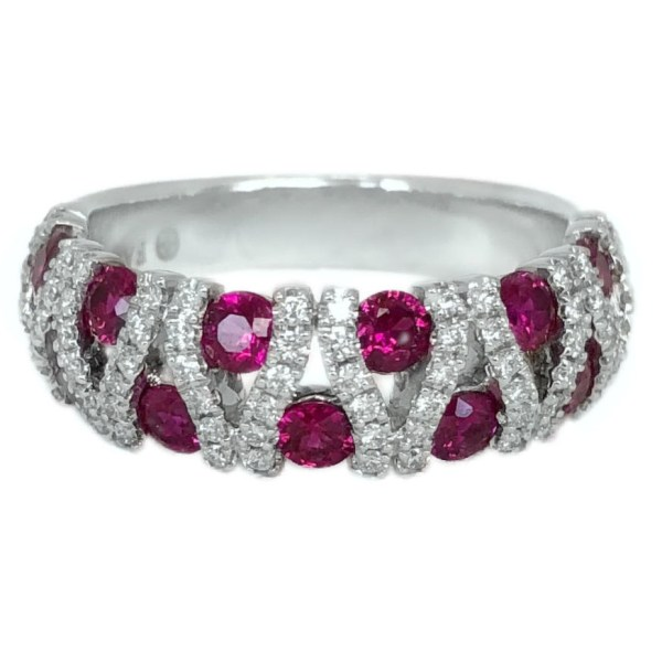 ruby 1.43 carats and diamonds vertical weave band