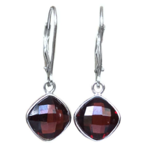 cushion cut garnet 4.99 carats lever back earrings