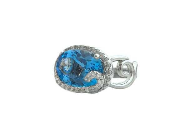 oval blue topaz 6.90 carat and diamonds ring