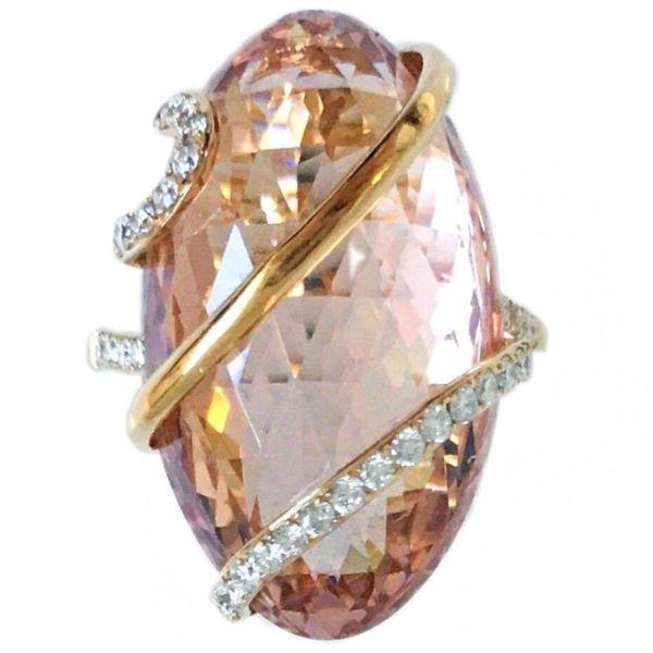 oval morganite 22.28 carat ring with diamonds