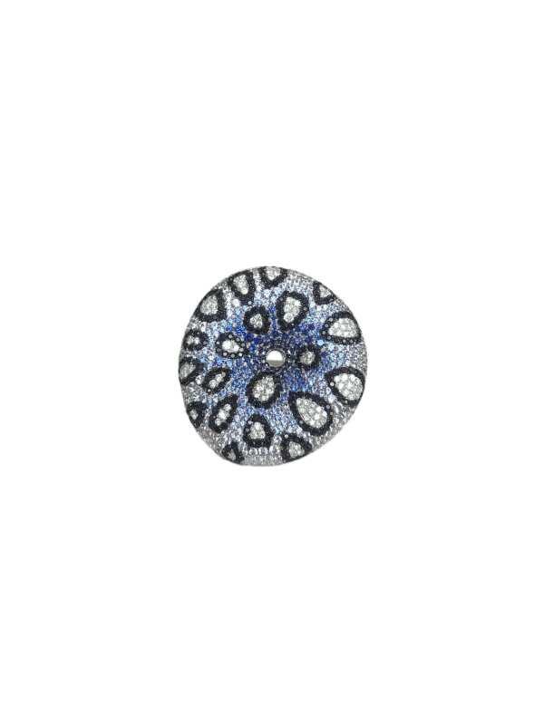 22241 14kt white gold multi color sapphire 3.20ctw & dia .45ctw ring