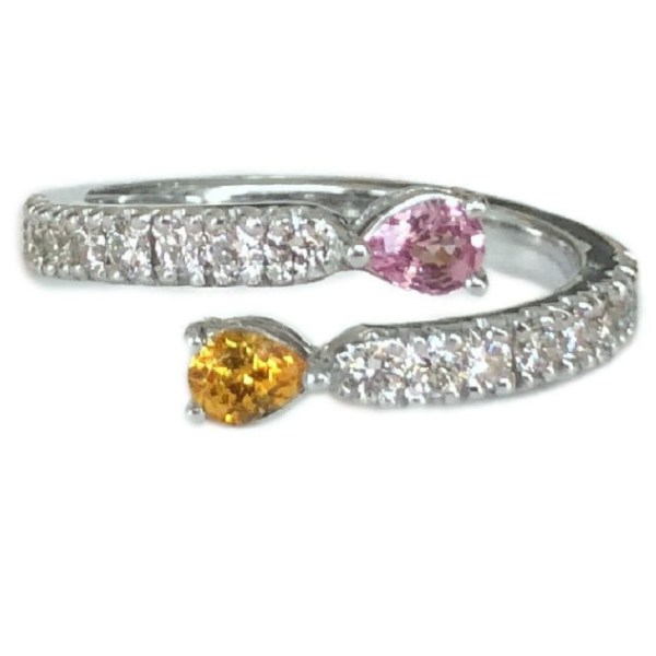 diamond bypass ring with garnet and pink sapphire