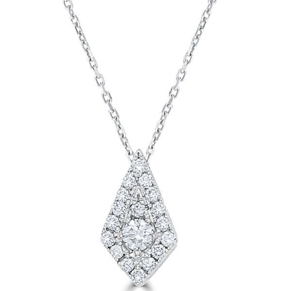 14kt kite shape necklace with diamonds