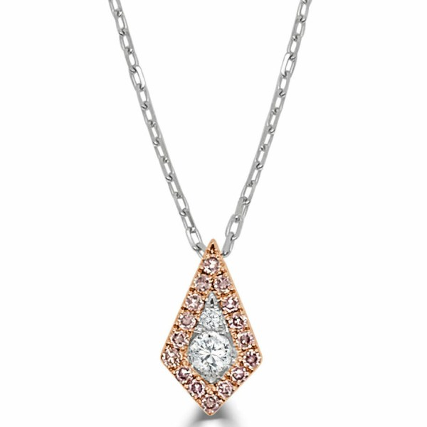 14kt pink & white diamond kite shape necklace
