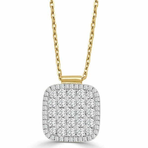 14kt xlg cushion shape necklace with diamonds