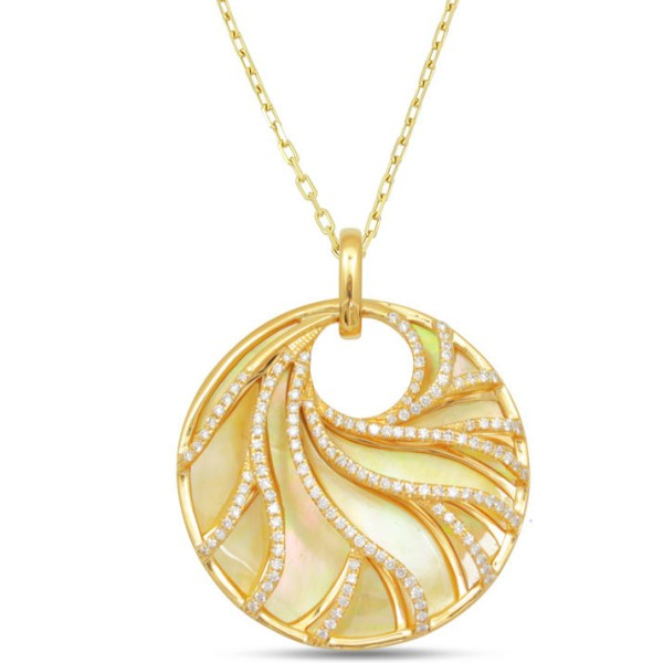 gold mother of pearl & diamond necklace