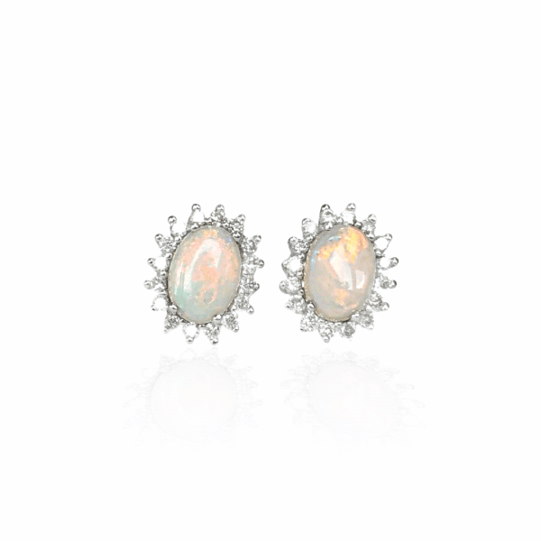12033 14kt white gold oval opal .89ctw & diamond .38ctw prong set stud earrings