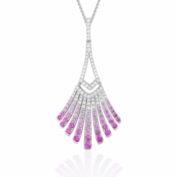 pink sapphire & diamond fan necklace