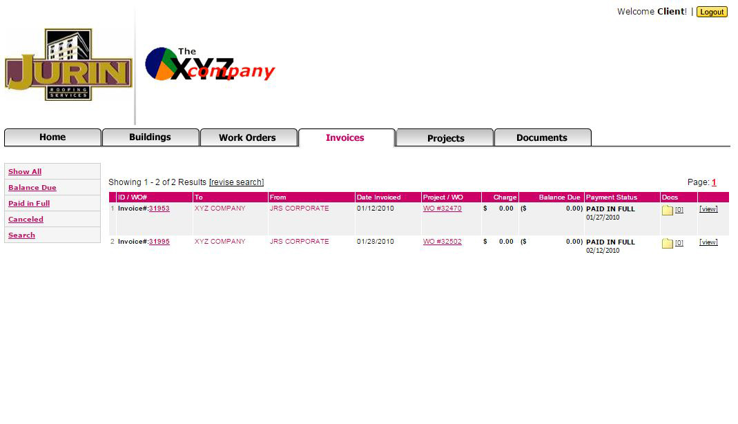Roofing Client Portal Invoices Screen