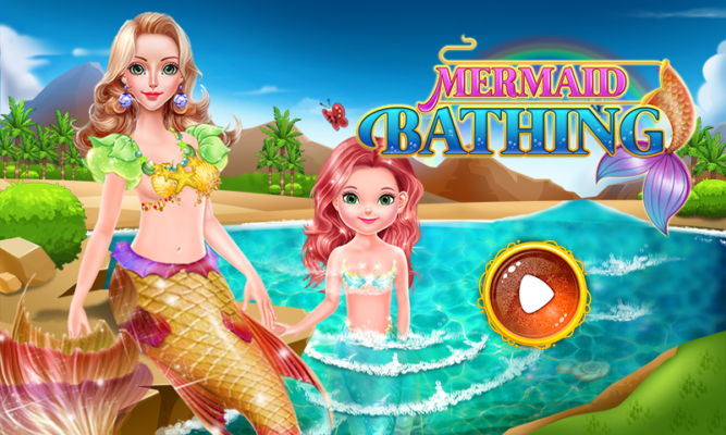 mermaid bathing girls games