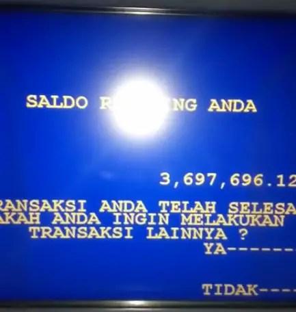 Saldo ATM anda akan muncul dilayar ATM