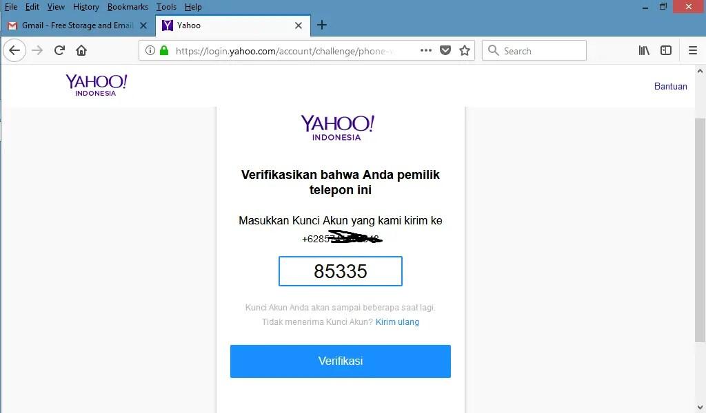 masukkan kode verifikasi yahoo