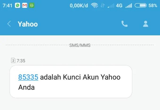kode verifikasi yahoo mail