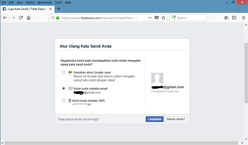 halaman atur ulang password fb