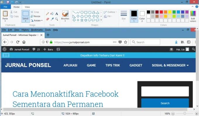 hasil menggunakan tombol sreenshot Print screen (PrtSc SysRq)