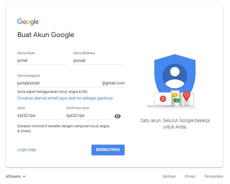 contoh form pendaftaran akun gmail yang sudah diisi