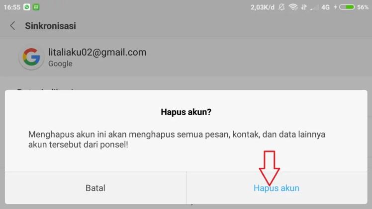 konfirmasi hapus akun gmail