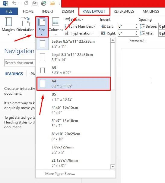 cara mengubah ukuran kertas di word menjadi a4