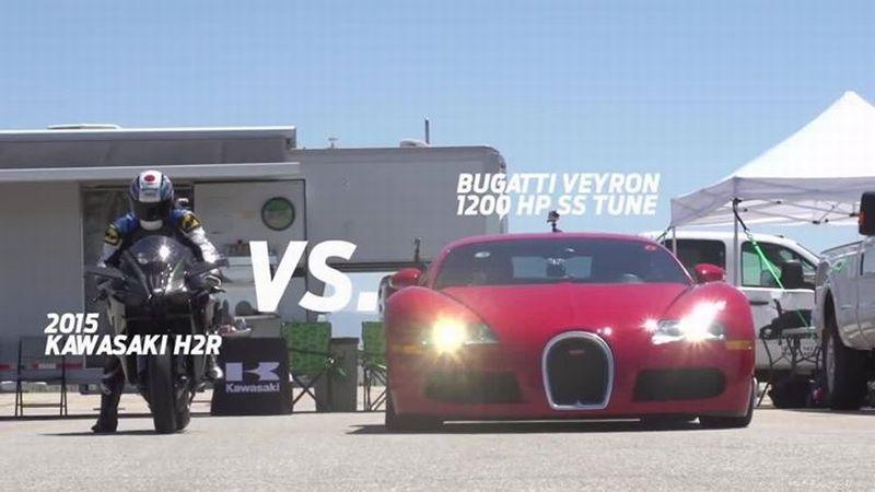 Bugatti Veyron SS vs Kawasaki Ninja H2R. Cine câștigă?