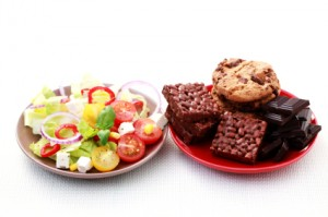 plates full of salad and sweet food - diet and breakfast