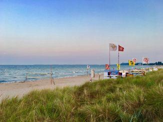 Escuela de surf en Haffkrug: a lo largo de la bahía de Lübeck hay varias oportunidades para practicar surf en el mar Báltico. Foto: Sascha Tegtmeyer