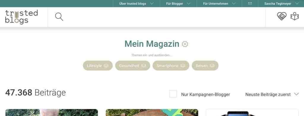 Über den Einstellungs-Button kann das Magazin verwaltet und Sammlungen angelegt werden. Mit nur einem Klick lassen sich dann Themen ausblenden und einblenden. Screenshot: trusted-blogs.com
